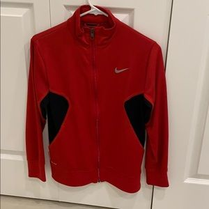 Youth large red nike zip up jacket